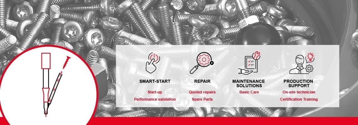 Descoperiti Solutia noastra de service: Instalare,mentenanta preventive rugulata, suportul in productie, imbunatatirea productivitatii la calitatea dorita