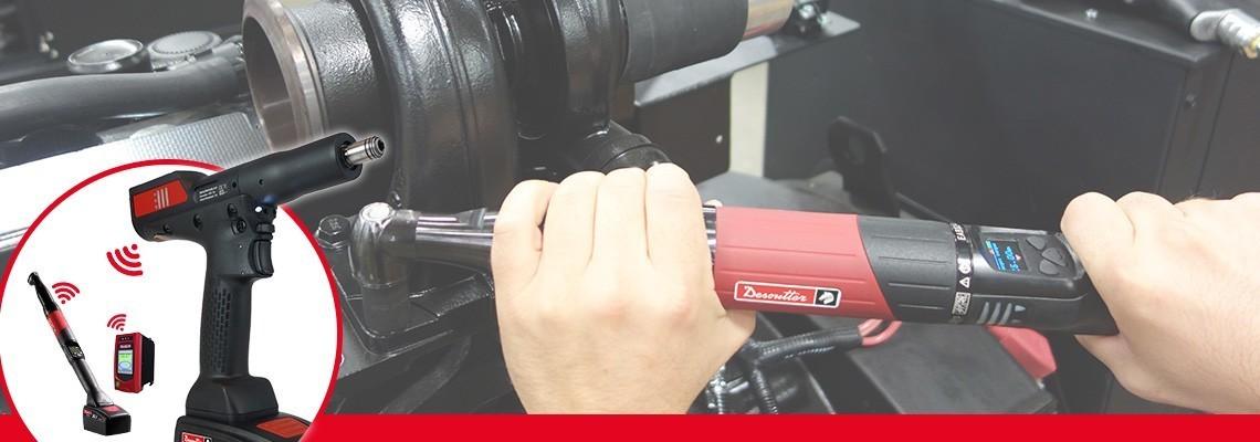 Descoperiţi cheile electrice cu acumulator EABCom - EPBCom de la Desoutter Industrial Tools. Conectaţi 4 scule cu acumulatori cu traductor la un controler de vedere pentru o trasabilitate de 100%.