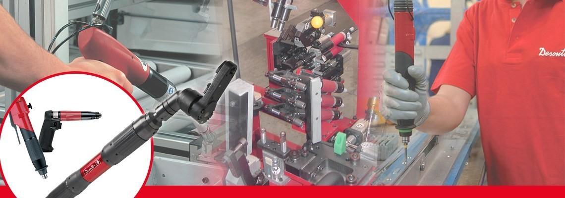 Desoutter Industrial Tools a creat o gamă întreagă de scule de asamblare pneumatice, inclusiv şurubelniţe cu mâner de pistol şi fără oprire concepute pentru precizie şi calitate.